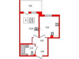 Квартира в ЖК «Юттери», 1 комнатная, 33.15 м², 5 этаж