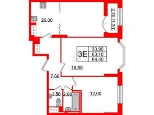 Квартира в ЖК Цивилизация на Неве, 2 комнатная, 64.4 м², 6 этаж
