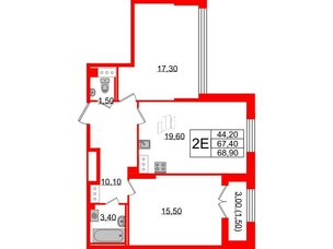 Квартира в ЖК Цивилизация, 3 комнатная, 68.9 м², 6 этаж