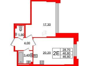 Квартира в ЖК Цивилизация на Неве, 2 комнатная, 46.8 м², 2 этаж