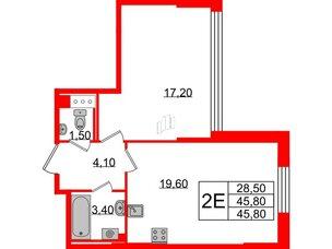 Квартира в ЖК Цивилизация на Неве, 1 комнатная, 45.8 м², 3 этаж