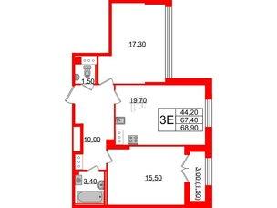 Квартира в ЖК Цивилизация на Неве, 3 комнатная, 68.9 м², 13 этаж