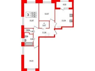 Квартира в ЖК Терра, 3 комнатная, 77.66 м², 3 этаж