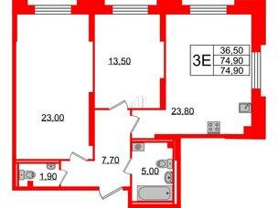 Квартира в ЖК Цивилизация, 2 комнатная, 74.9 м², 2 этаж