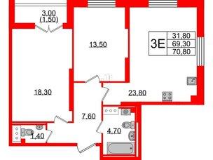 Квартира в ЖК Цивилизация, 2 комнатная, 70.8 м², 12 этаж