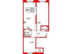 Квартира в ЖК Цивилизация, 2 комнатная, 80 м², 2 этаж