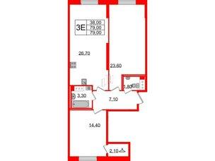 Квартира в ЖК Цивилизация на Неве, 2 комнатная, 79 м², 3 этаж
