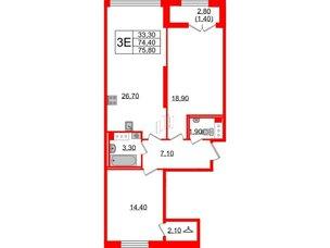 Квартира в ЖК Цивилизация, 2 комнатная, 75.8 м², 12 этаж