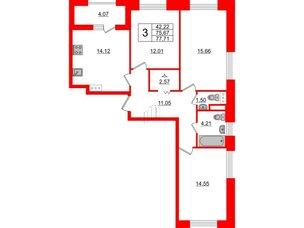 Квартира в ЖК Терра, 3 комнатная, 77.71 м², 11 этаж