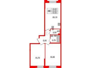 Квартира в ЖК Цивилизация, 3 комнатная, 63.9 м², 2 этаж