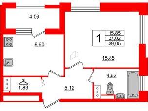 Квартира в ЖК Терра, 1 комнатная, 39.05 м², 2 этаж