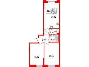 Квартира в ЖК Цивилизация на Неве, 2 комнатная, 63.5 м², 3 этаж
