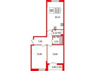 Квартира в ЖК Цивилизация, 3 комнатная, 63.4 м², 6 этаж