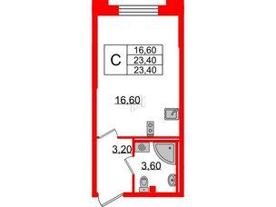 Квартира в ЖК Цивилизация, студия, 23.4 м², 2 этаж