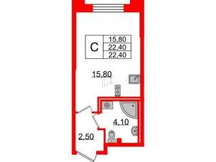 Квартира в ЖК Цивилизация, студия, 22.4 м², 2 этаж