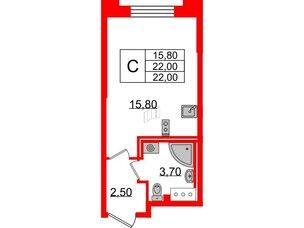 Квартира в ЖК Цивилизация на Неве, студия, 22 м², 3 этаж
