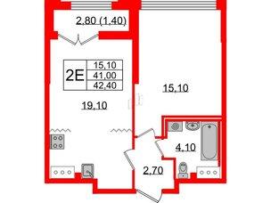 Квартира в ЖК Цивилизация на Неве, 1 комнатная, 42.4 м², 12 этаж