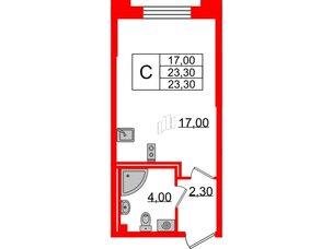 Квартира в ЖК Цивилизация на Неве, студия, 23.3 м², 2 этаж