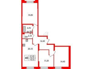 Квартира в ЖК Цивилизация на Неве, 3 комнатная, 79.7 м², 3 этаж