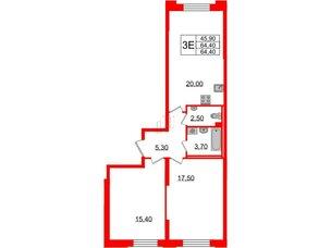 Квартира в ЖК Цивилизация, 3 комнатная, 64.4 м², 2 этаж