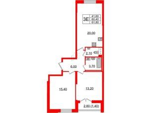 Квартира в ЖК Цивилизация, 3 комнатная, 61.8 м², 6 этаж