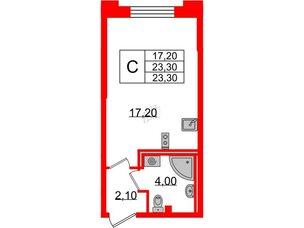 Квартира в ЖК Цивилизация, студия, 23.3 м², 2 этаж