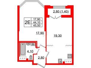 Квартира в ЖК Цивилизация, 1 комнатная, 45.5 м², 6 этаж