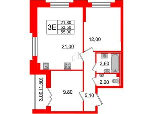 Квартира в ЖК Цивилизация, 2 комнатная, 55 м², 2 этаж