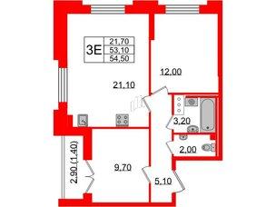 Квартира в ЖК Цивилизация, 2 комнатная, 54.5 м², 4 этаж