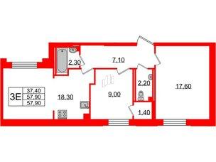 Квартира в ЖК Цивилизация, 3 комнатная, 57.9 м², 2 этаж