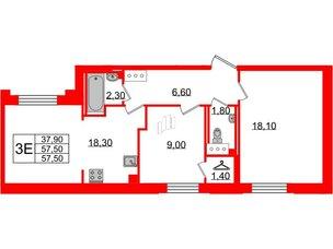 Квартира в ЖК Цивилизация, 3 комнатная, 57.5 м², 4 этаж