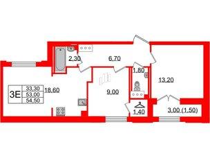 Квартира в ЖК Цивилизация, 3 комнатная, 54.5 м², 6 этаж