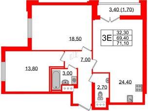 Квартира в ЖК Цивилизация, 2 комнатная, 71.1 м², 6 этаж