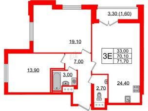 Квартира в ЖК Цивилизация, 2 комнатная, 71.7 м², 16 этаж
