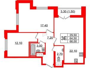 Квартира в ЖК Цивилизация, 2 комнатная, 66 м², 22 этаж