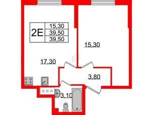 Квартира в ЖК Цивилизация на Неве, 1 комнатная, 39.5 м², 3 этаж
