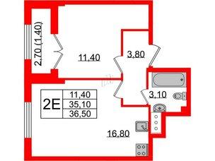 Квартира в ЖК Цивилизация, 1 комнатная, 36.5 м², 6 этаж