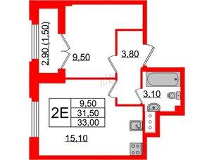 Квартира в ЖК Цивилизация, 1 комнатная, 33 м², 22 этаж