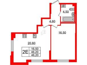 Квартира в ЖК Цивилизация, 1 комнатная, 46.2 м², 2 этаж