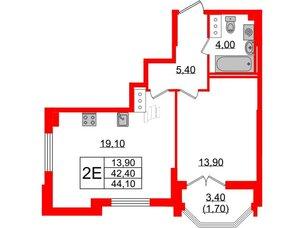 Квартира в ЖК Цивилизация, 1 комнатная, 44.1 м², 6 этаж