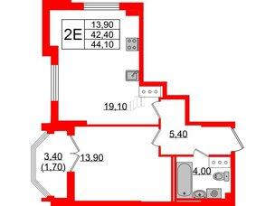 Квартира в ЖК Цивилизация на Неве, 1 комнатная, 44.1 м², 7 этаж