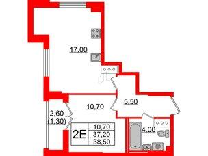Квартира в ЖК Цивилизация на Неве, 1 комнатная, 38.5 м², 21 этаж