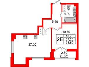 Квартира в ЖК Цивилизация, 1 комнатная, 38.5 м², 22 этаж