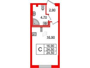 Квартира в ЖК Цивилизация, студия, 24.5 м², 2 этаж
