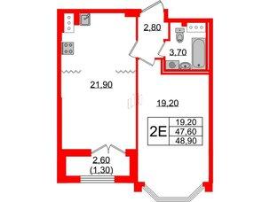 Квартира в ЖК Цивилизация, 1 комнатная, 48.9 м², 6 этаж