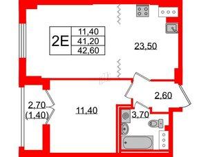Квартира в ЖК Цивилизация на Неве, 1 комнатная, 42.6 м², 21 этаж