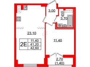 Квартира в ЖК Цивилизация, 1 комнатная, 42.6 м², 22 этаж
