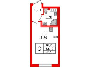 Квартира в ЖК Цивилизация, студия, 23.1 м², 4 этаж