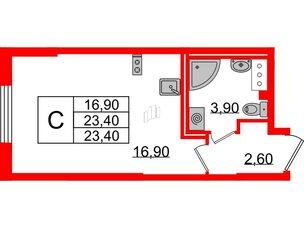Квартира в ЖК Цивилизация на Неве, студия, 23.4 м², 3 этаж