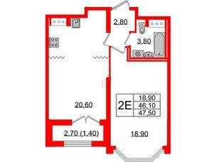 Квартира в ЖК Цивилизация, 1 комнатная, 47.5 м², 6 этаж
